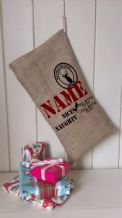 Personalized Naughty or Nice Father Christmas Xmas Santa Sack / Stocking Bag Jute Hessian